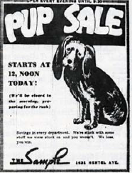 Sample Pup Sale Flyer circa 1944