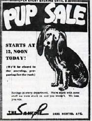 Sample Pup Sale Flyer circa 1944